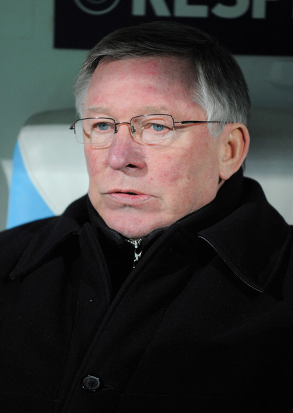 Sir Alex Ferguson, manager of Manchester United looks on during the UEFA Champions League round of 16 first leg match between Marseille and Manchester United at the Stade Velodrome on February 23, 2011 in Marseille, France.