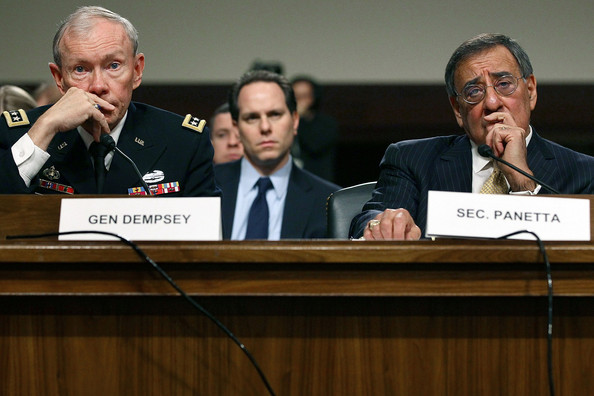 Martin Dempsey Defense Secretary Leon Panetta (R) and Chairman of the Joint Chiefs of Staff Gen. Martin Dempsey listen to questions during a Senate Armed Services Committee hearing on Capitol Hill February 14, 2012 in Washington, DC. The committee is hearing testimony on the Defense Department's budget request for FY2013.