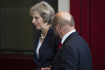 Martin Schulz Theressa May Attends Her First EU Council Meeting As British Prime Minister