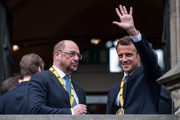 Martin Schulz City Of Aachen Awards Charlemagne Prize To Emmanuel Macron