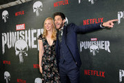 "Deborah Ann Woll and Ben Barnes attend ""Marvel's The Punisher"" Seasons 2 Premiere at ArcLight Hollywood on January 14, 2019 in Hollywood, California."