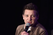 """Jeremy Renner speaks onstage during Marvel Studios' """"Avengers: Endgame"""" Global Junket Press Conference at the InterContinental Los Angeles Downtown on April 7, 2019 in Los Angeles, California."""