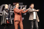 Brie Larson, Robert Downey Jr., Jeremy Renner attend the press conference for Marvel Studios' 'Avengers: Endgame' South Korea premiere on April 15, 2019 in Seoul, South Korea.