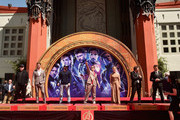 """Marvel Studios' """"Avengers: Endgame"""" stars President of Marvel Studios/Producer Kevin Feige, Chris Hemsworth, Chris Evans, Robert Downey Jr., Scarlett Johansson, Mark Ruffalo and Jeremy Renner at the Hand And Footprint Ceremony at the TCL Chinese Theatre on April 23, 2019 in Hollywood, California."""