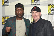 Mahershala Ali and President of Marvel Studios Kevin Feige at the San Diego Comic-Con International 2019 Marvel Studios Panel in Hall H on July 20, 2019 in San Diego, California.
