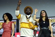 (L-R) Lauren Ridloff, Brian Tyree Henry and Salma Hayek of Marvel Studios' 'The Eternals' at the San Diego Comic-Con International 2019 Marvel Studios Panel in Hall H on July 20, 2019 in San Diego, California.