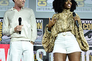 Paul Bettany and Teyonah Parris of Marvel Studios' 'WandaVision' at the San Diego Comic-Con International 2019 Marvel Studios Panel in Hall H on July 20, 2019 in San Diego, California.