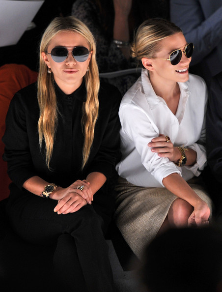 Mary-Kate Olsen (L-R) Mary-Kate Olsen and Ashley Olsen attend the J.Mendel Spring 2012 Fashion Show at Lincoln Center on September 14, 2011 in New York City.