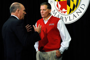 Big Ten Commissioner James E. Delany (L) speaks with University of Maryland football head coach Randy Edsall after a news conference annoucing Maryland's decision to join the Big Ten Conference on November 19, 2012 in College Park, Maryland.