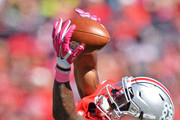Braxton Miller #1 of the Ohio State Buckeyes stretches to snag a 33-yard reception in the second quarter against the Maryland Terrapins at Ohio Stadium on October 10, 2015 in Columbus, Ohio. The catch set up the Buckeyes' third touchdown of the half.