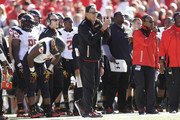 Head Coach Randy Edsall of the Maryland Terrapins stands on the sidelines during the second quarter against the Wisconsin Badgers at Camp Randall Stadium on October 25, 2014 in Madison, Wisconsin.