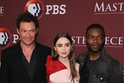 Dominic West, Lily Collins and David Oyelowo attend the Masterpiece Photo Call on February 01, 2019 in Pasadena, California.