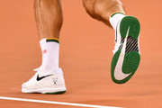 Roger Federer of Switzerland's nike shoes during the Match in Africa between Roger Federer and Rafael Nadal at Cape Town Stadium on February 07, 2020 in Cape Town, South Africa.
