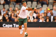 Roger Federer of Switzerland plays a forehand during the Match in Africa between Roger Federer and Rafael Nadal at Cape Town Stadium on February 07, 2020 in Cape Town, South Africa.