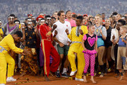 Roger Federer of Switzerland interacts after the Match in Africa between Roger Federer and Rafael Nadal at Cape Town Stadium on February 07, 2020 in Cape Town, South Africa.