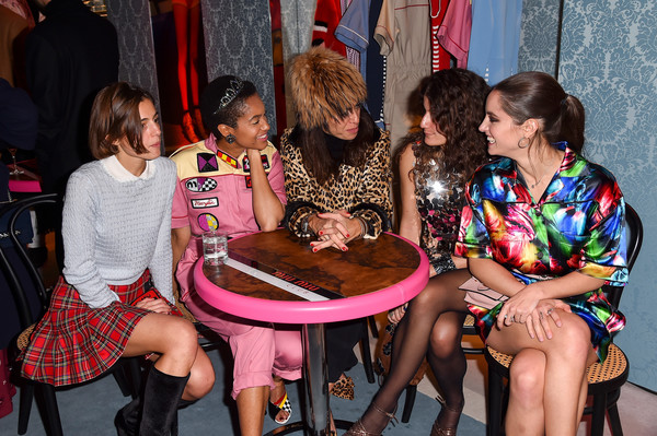 Miu Miu Club Milan [fashion,event,leg,party,sitting,thigh,ceremony,matilde solbiati,carolina prada bianchi,viviana volpicella,tamu mcpherson,matilde gioli,l-r,milan,italy,miu miu club]