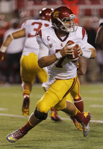 Matt Barkley Quarterback Matt Barkley #7 of the USC Trojans throws the ball during a game against the Utah Utes during the first half of a college football game October 4, 2012 at Rice-Eccles Stadium in Salt Lake City, Utah. USC beat Utah 38-28.