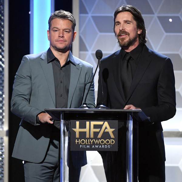 23rd Annual Hollywood Film Awards - Social Crops [suit,white-collar worker,event,speech,spokesperson,business,formal wear,matt damon,christian bale,l-r,hollywood director award,annual hollywood film awards - social crops,california,beverly hills,the beverly hilton hotel,annual hollywood film awards]