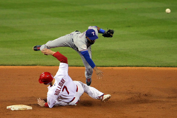 Elvis Andrus and Matt Holliday - 2011 World Series Game 6 - Texas Rangers v St Louis Cardinals