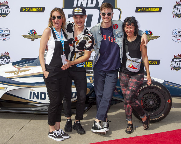 Celebrities Arrive For The 2019 Indianapolis 500 [walk the moon,vehicle,automotive design,eyewear,event,competition,wheel,team,games,recreation,car,celebrities,kevin ray,matt johnson,kim schifino,left,indianapolis motor speedway,indianapolis,matt and kim,indianapolis 500]