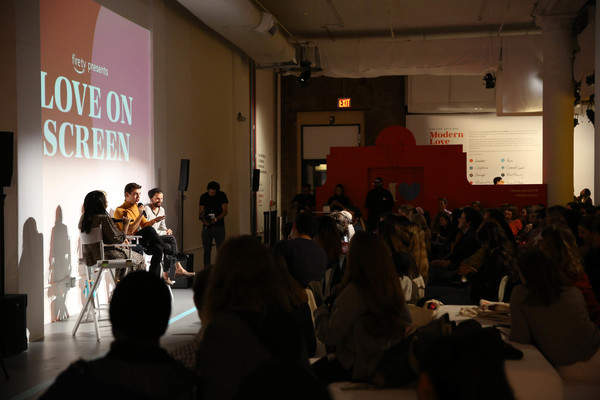 Fire TV Presents: Love on Screen Panel And Screening Event At 'The Museum of Modern Love' [fire tv presents: love on screen panel screening event,the museum of modern love,crowd,event,fashion,design,architecture,audience,tourist attraction,art,performance,visual arts,matt rogers,candace bushnell,sade strehlke,justin mcleod,l-r,museum of modern love,new york city]