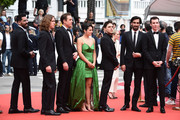 "(L-R) Adib Alkhalidey, Samuel Gauthier, Antoine Pilon, Catherine Brunet, Xavier Dolan, Gabriel D'Almeida Freitas, Nancy Grant and Pier-Luc Funk attend the screening of ""Matthias Et Maxime (Matthias and Maxime)"" during the 72nd annual Cannes Film Festival on May 22, 2019 in Cannes, France."