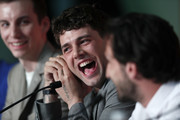 "(L-R) Pier-Luc Funk, director Xavier Dolan and Gabriel D'Almeida Freitas attend the ""Matthias et Maxime (Matthias and Maxime)"" Press Conference during the 72nd annual Cannes Film Festival on May 23, 2019 in Cannes, France."