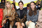 (L-R) Xenia Adonts and Gala Gonzalez, wearing Max Mara with Erika Boldrin attend the Max Mara show during Milan Fashion Week Spring/Summer 2020 on September 19, 2019 in Milan, Italy.