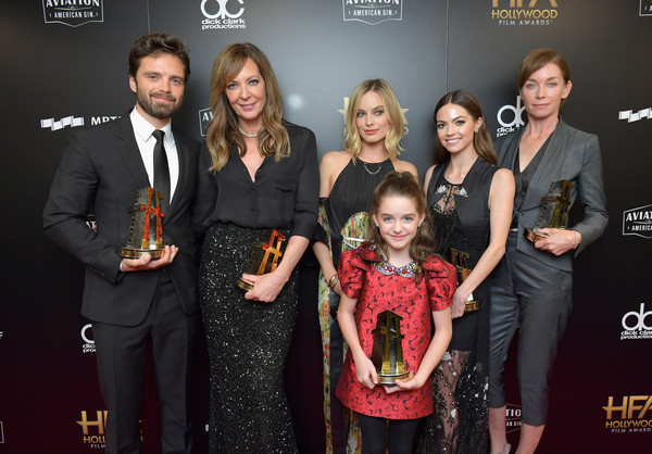 21st Annual Hollywood Film Awards - Press Room [event,award,carpet,premiere,award ceremony,flooring,dress,red carpet,smile,formal wear,l-r,hollywood ensemble award,annual hollywood film awards - press room,honorees,recipients,allison janney,sebastian stan,julianne nicholson,margot robbie,caitlin carver]