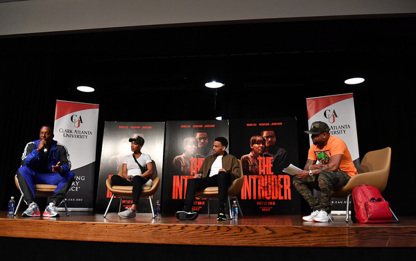 The Intruder Invades Clark Atlanta University's Spring Fest 2019 With Michael Ealy, Meagan Good, And Deon Taylor [event,design,media,performance,stage,talent show,news conference,costume,michael ealy,meagan good,deon taylor,j. nicks,l-r,clark atlanta university student center,atlanta,georgia,intruder invades clark atlanta university,spring fest 2019]