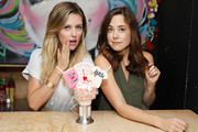 Taylor Louderman and Erika Henningsen of MEAN GIRLS on Broadway attend the Mean Girls CrazyShake launch at Black Tap Craft Burgers and Beer in Midtown on September 12, 2018 in New York City.