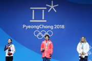 (L-R) Silver medalist Sang-Hwa Lee of Korea, gold medalist Nao Kodaira of Japan and bronze medalist Karolina Erbanova of the Czech Republic stand on the podium during the medal ceremony for Speed Skating - Ladies' 500m on day 11 of the PyeongChang 2018 Winter Olympic Games at Medal Plaza on February 20, 2018 in Pyeongchang-gun, South Korea.