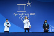 (L-R) Silver medalist Alex Ferreira of the United States, gold medalist David Wise of the United States and bronze medalist Nico Porteous of New Zealand stand on the podium during the medal ceremony for Freestyle Skiing - Men's Ski Halfpipe on day 13 of the PyeongChang 2018 Winter Olympic Games at Medal Plaza on February 22, 2018 in Pyeongchang-gun, South Korea.