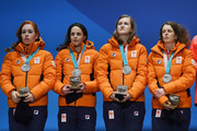 Silver medalists Marrit Leenstra, Lotte Van Beek, Ireen Wust and Antoinette De Jong of the Netherlands stand on the podium during the medal ceremony for Speed Skating - Ladies' Team Pursuit on day 13 of the PyeongChang 2018 Winter Olympic Games at Medal Plaza on February 22, 2018 in Pyeongchang-gun, South Korea.