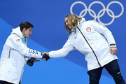 (L-R) Silver medalist Alex Ferreira of the United States and gold medalist David Wise of the United States shake hands during the medal ceremony for Freestyle Skiing - Men's Ski Halfpipe on day 13 of the PyeongChang 2018 Winter Olympic Games at Medal Plaza on February 22, 2018 in Pyeongchang-gun, South Korea.