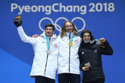 (L-R) Silver medalist Alex Ferreira of the United States, gold medalist David Wise of the United States and bronze medalist Nico Porteous of New Zealand celebrate during the medal ceremony for Freestyle Skiing - Men's Ski Halfpipe on day 13 of the PyeongChang 2018 Winter Olympic Games at Medal Plaza on February 22, 2018 in Pyeongchang-gun, South Korea.