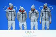 Gold medalists Vinzenz Geiger, Fabian Riessle, Eric Frenzel and Johannes Rydzek of Germany stand during the medal ceremony for Nordic Combined - Team Gundersen LH/4x5km Cross-Country on day 14 of the PyeongChang 2018 Winter Olympic Games at Medal Plaza on February 23, 2018 in Pyeongchang-gun, South Korea.