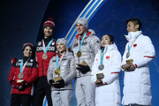 (L-R) Bronze medalists Meagan Duhamel and Eric Radford of Canada, gold medalists Aljona Savchenko and Bruno Massot of Germany and silver medalists Wenjing Sui and Cong Han of China celebrate during the medal ceremony for the Pair Skating Free Skating on day six of the PyeongChang 2018 Winter Olympic Games at Medal Plaza on February 15, 2018 in Pyeongchang-gun, South Korea.
