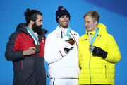 (L-R) Bronze medalist Regino Hernandez of Spain, gold medalist Pierre Vaultier of France and silver medalist Jarryd Hughes of Australia celebrate during the medal ceremony for Men's Snowboard Cross Finals on day six of the PyeongChang 2018 Winter Olympic Games at Medal Plaza on February 15, 2018 in Pyeongchang-gun, South Korea.