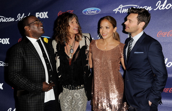 American Idol judges Randy Jackson, Steven Tyler, Jennifer Lopez and host Ryan Seacrest arrive at Fox's American Idol finalist party at The Grove on March 1, 2012 in Los Angeles, California.