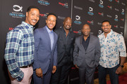 (L-R) Brian White, DeVon Franklin, Malik Yoba, John Singleton, and Laz Alonso pose before the MegaFest Leading Men In Hollywood Panel at the Omni Hotel on June 29, 2017 in Dallas, Texas.