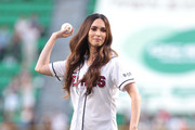 Actress Megan Fox throw out the first pitch at the LG Twins vs. Doosan Bears as a part of promotion for South Korea premiere of 'Teenage Mutant Ninja Turtles' on August 27, 2014 in Seoul, South Korea.