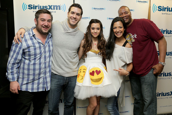 SiriusXM Hits 1's The Morning Mash Up Broadcast From The SiriusXM Studios In Los Angeles [the morning mash up broadcast,social group,yellow,event,youth,fun,premiere,siriusxm hits 1,stanley t,megan nicole,nicole ryan,rich davis,ryan sampson,l-r,los angeles,the siriusxm studios]