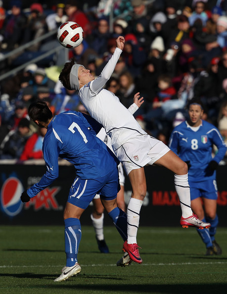 U.S. Women v Italy [player,sports,tournament,sports equipment,football player,team sport,ball game,soccer player,sport venue,football,women,megan rapinoe,giulia domenichetti,header,u.s.,italy,illinois,bridgeview,toyota park,match]