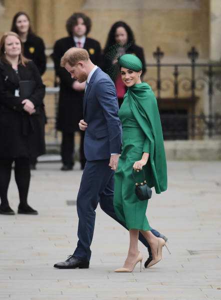 Commonwealth Day Service 2020 [green,fashion,street fashion,outerwear,footwear,coat,event,photography,suit,street,harry,meghan,service,suit,commonwealth,sussex,countries,duchess,duke of sussex,commonwealth day service,suit,socialite]