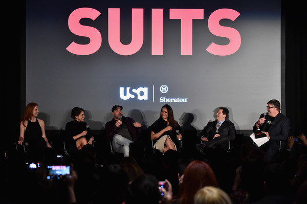 Premiere of USA Network's 'Suits' Season 5 - Inside [season,event,text,performance,font,convention,design,conversation,music,brand,talent show,aaron,actors,creator,sarah rafferty,suits,q a,usa network,premiere,premiere]