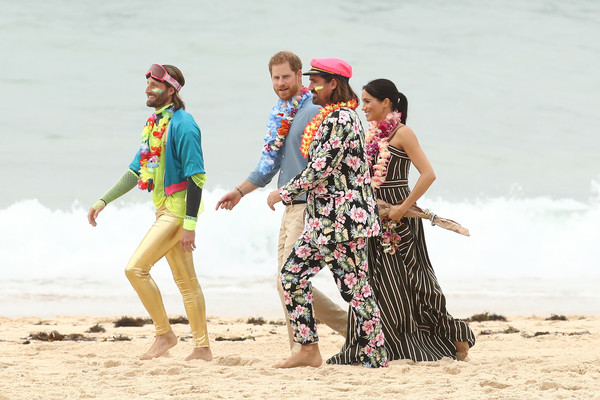 The Duke And Duchess Of Sussex Visit Australia - Day 4 [duke of sussex,duke and duchess of sussex visit,onewave,people on beach,fun,people,sand,beach,vacation,summer,tourism,photography,headgear,australia,sussex,duchess,bondi beach,harry,sam schumacher,co-founder]