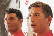John Aloisi, manager of the Heart and Harry Kewell of the Heart speak during a press conference to announce the Melbourne Heart A-League captain at the Westpac Collins St branch on September 4, 2013 in Melbourne, Australia.