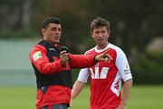 Heart coach John Aloisi talks with Harry Kewell during a Melbourne Heart A-League training session at the La Trobe University Playing Fields on September 18, 2013 in Melbourne, Australia.