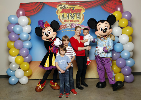 Melissa Joan Hart, Husband Mark Wilkerson And Their Sons Tucker, Braydon And Mason Meet Mickey Mouse And Minnie Mouse At A Performance Of Disney Junior Live On Tour! Pirate & Princess Adventure